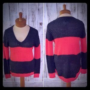 Rue21 Gray & Neon Pinkish/Orange Sweater